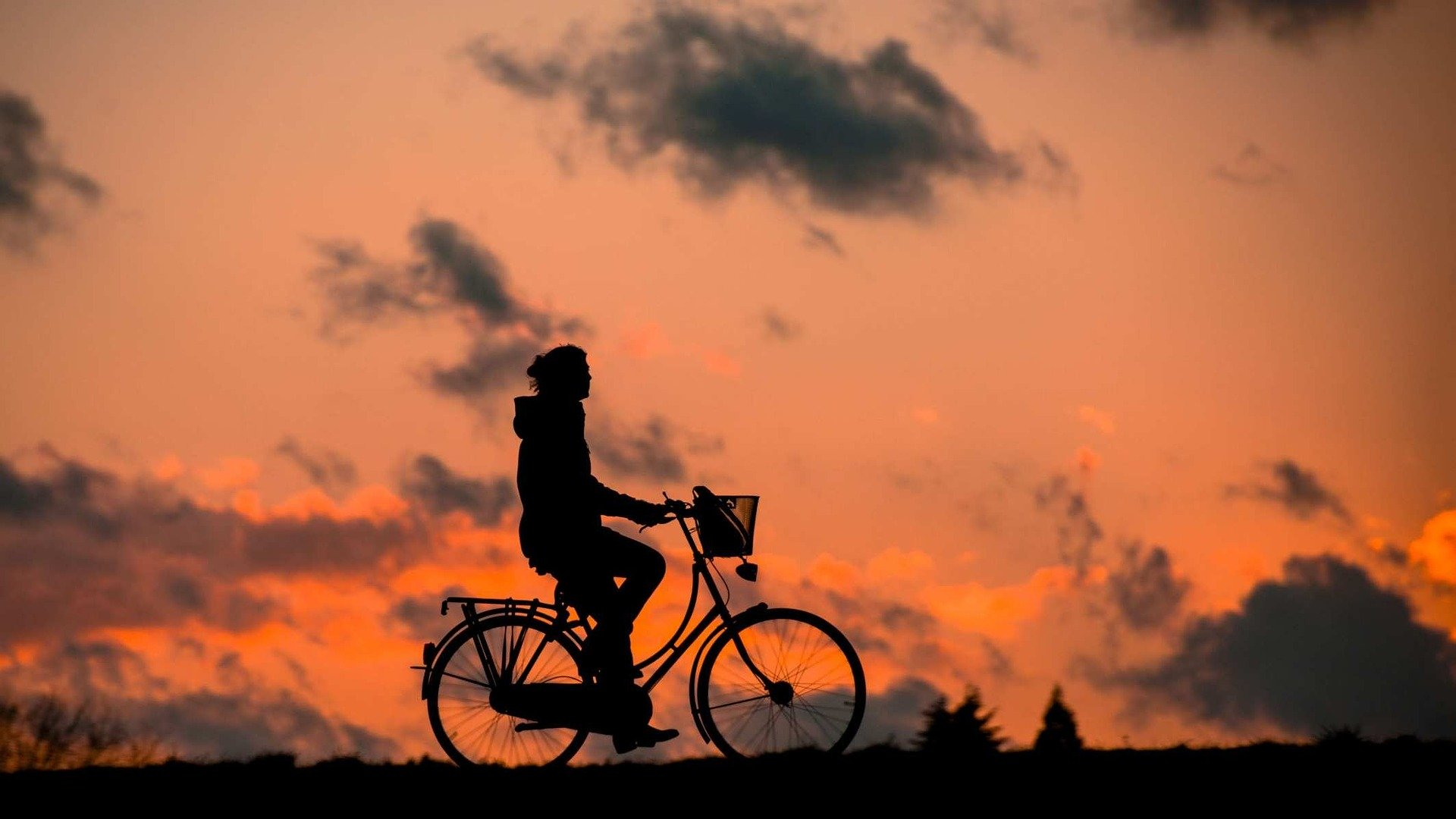 Cycling silhouette image